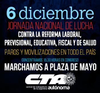 El 6 de diciembre todos y todas a Plaza de Mayo